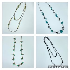 Jewelry necklaces lot of 4 black green turquoise